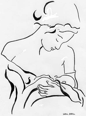 Figure Drawing - Mother And Child by Valerie Felice