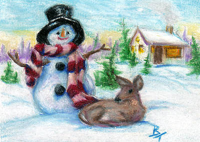 Painting - Mr. Snowman Aceo by Brenda Thour