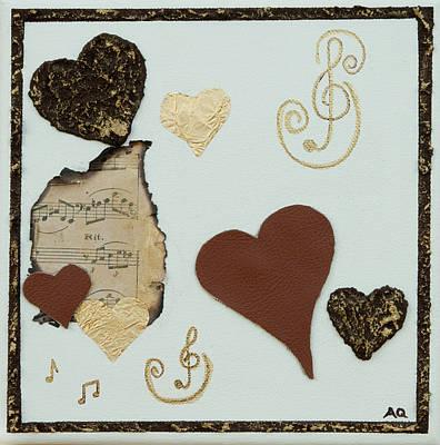 Musical Love - Tan Hearts Art Print by Alison Quine