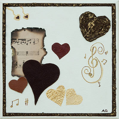 Hearts On Trees Mixed Media - Musical Love by Alison Quine