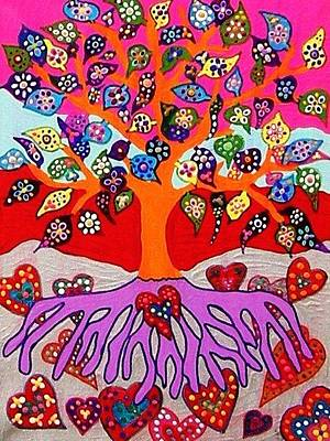 My Heart Flowers For You Art Print by Sandra Silberzweig