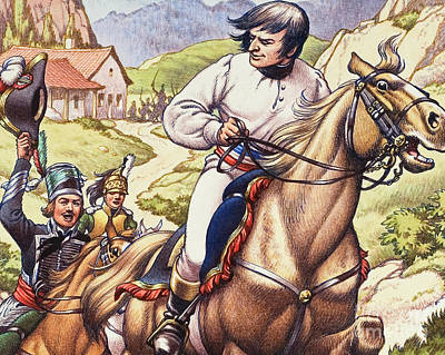 Escape Painting - Napoleon Making A Narrow Escape With An Austrian Cavalry Patrol Close On His Heels by Pat Nicolle