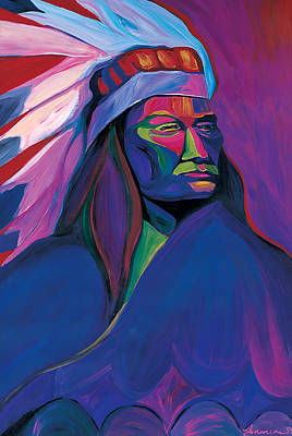 Colorful Native American Painting - Native American Pink And Green by Mike Lawrence