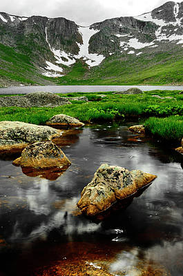 Mountain Reflection Lake Summit Mirror Photograph - Nearer To Heaven by The Forests Edge Photography - Diane Sandoval