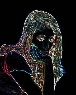 Contemplate Digital Art - Neon Contemplation by Betty LaRue