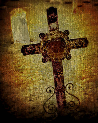 Grave Yard Photograph - Old Cross by Perry Webster