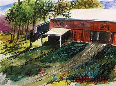 John M. Williams Drawing - Old Horse Stable by John Williams