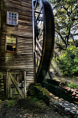 Old Water Wheel Art Print by Michael  Ayers
