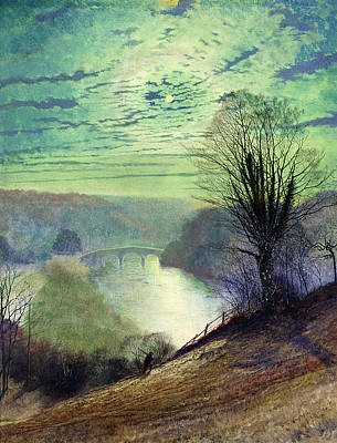 Moonlit Night Painting - On The Tees Near Barnard Castle by John Atkinson Grimshaw