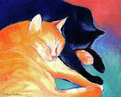 Svetlana Novikova Painting - Orange And Black Tabby Cats Sleeping by Svetlana Novikova