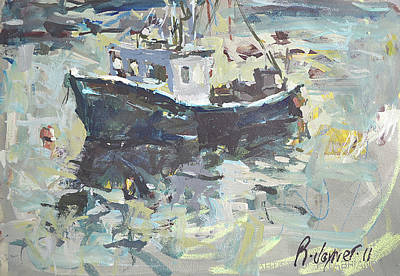 Art Print featuring the painting Original Lobster Boat Painting by Robert Joyner