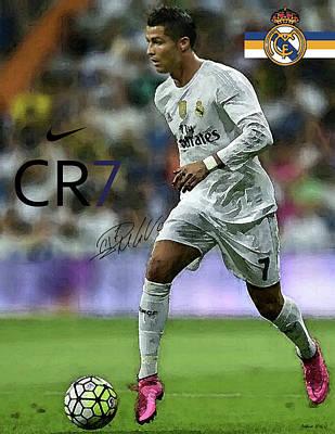 Cristiano Ronaldo Mixed Media - Mixed Media Painting, Signed, Cristiano Ronaldo, Real Madrid, Cr 7 by Thomas Pollart