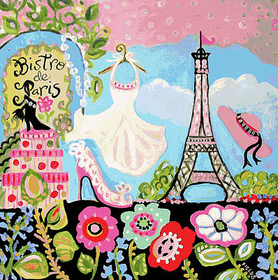 Paris Digital Art - Paris Bistro Dress  by Karen Fields