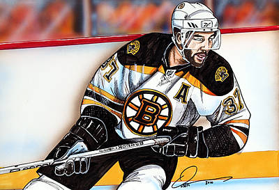 Nhl Hockey Drawing - Patrice Bergeron by Dave Olsen
