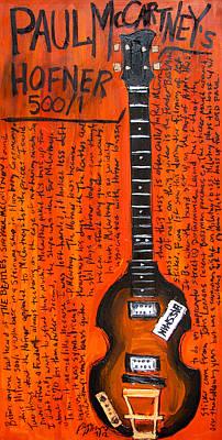 Guitar Painting - Paul Mccartney Hofner Bass by Karl Haglund