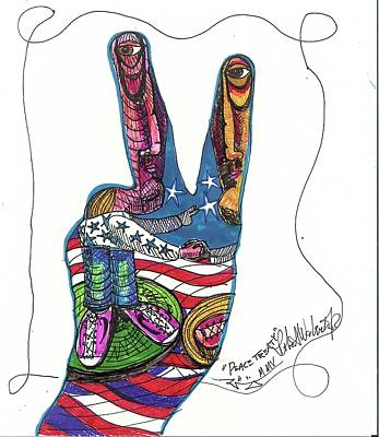 My Own Hands Drawing - Peace Treaty by Robert Wolverton Jr
