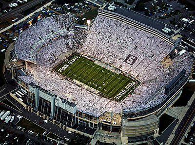 Framed Photograph - Penn State Aerial View Of Beaver Stadium by Steve Manuel