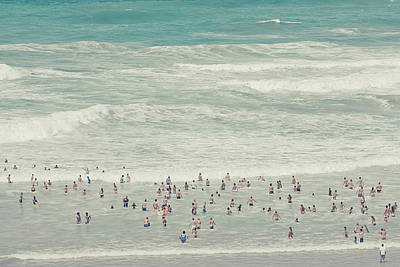 People On Beach Wall Art - Photograph - People Walking Into Ocean by Cindy Prins