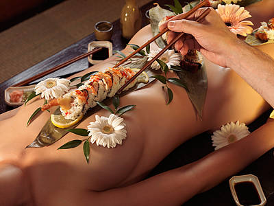 Person Eating Nyotaimori Body Sushi Art Print by Oleksiy Maksymenko