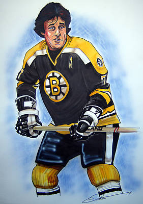 Nhl Hockey Drawing - Phil Esposito by Dave Olsen