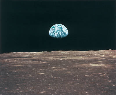 Satellite Views Photograph - Planet Earth Viewed From The Moon by Stockbyte