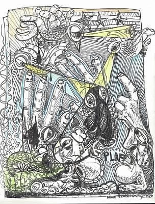 Outsider Art Drawing - Plop by Robert Wolverton Jr