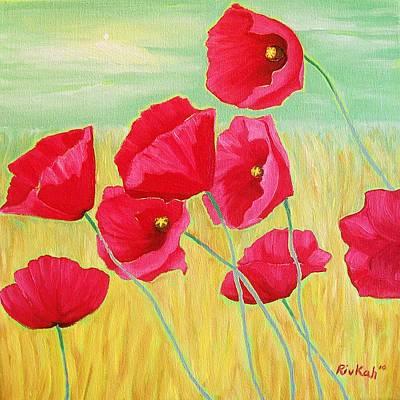 Pop Pop Poppies Art Print by Rivkah Singh