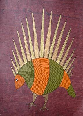 Gond Drawing - Porcupine Bs 14 by Bhajju Shyam