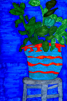 Potted Plant In Blue Original by Stephanie Ward