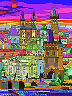 Town Mixed Media - Prague Panorama Old Town by Yuriy  Shevchuk