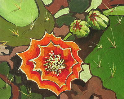 Stamen Painting - Prickly Pear Bloom by Sandy Tracey