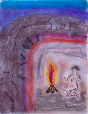 Primitive Man Fireside Art Print by Robyn Louisell