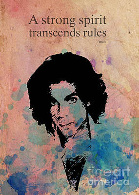 Musicians Drawings Rights Managed Images - PRINCE quote A strong spirit transcends rules Royalty-Free Image by Drawspots Illustrations