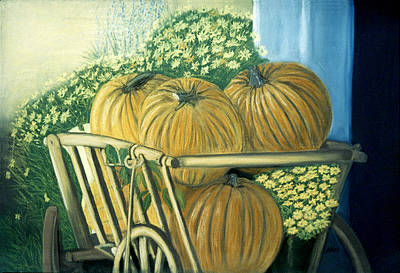 Pastel - Pumpkin Cart In Boerne by Jan Amiss