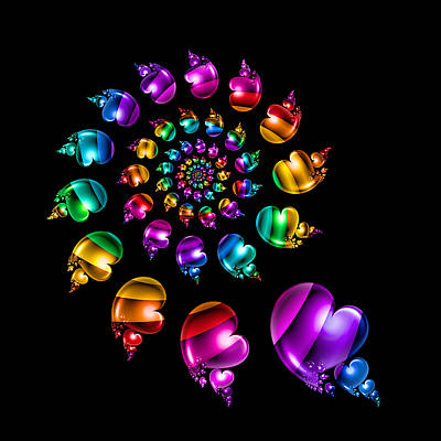 Rainbow Heart Wheel On Black Art Print by Pam Blackstone