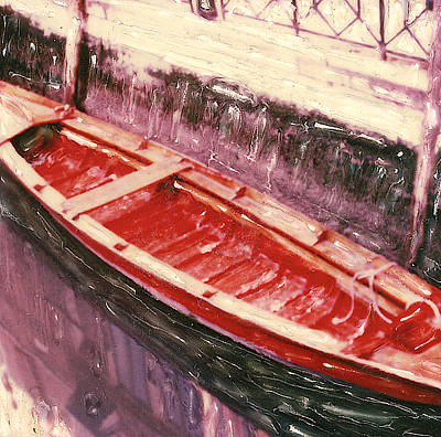Canoe Mixed Media - Red Canoe by Linda Scharck