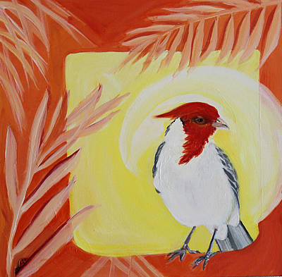 Wall Art - Painting - Red-crested Cardinal by Evelyn Niehaus