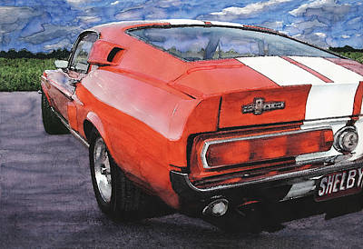 Ford Mustang Painting - Red Mustang Shelby Gt500 by Rod Seel