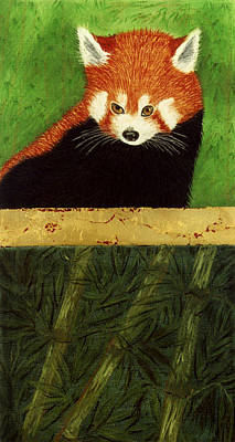 Pastel - Red Panda And Bamboo by Jan Amiss