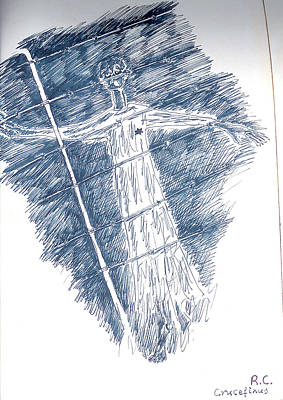 Drawing - Requiem - Crucifixion by Rae Chichilnitsky