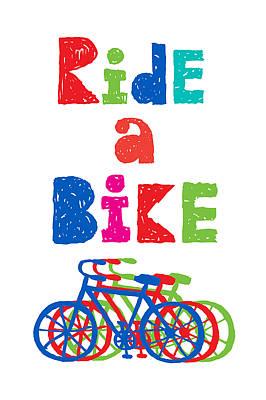 Ride A Bike - Sketchy  Art Print by Andi Bird