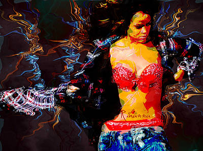 Rihanna Digital Art - Rihanna Abstract By Gbs by Anibal Diaz