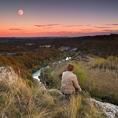 Bulgaria Photograph - River And Moon by Evgeni Dinev