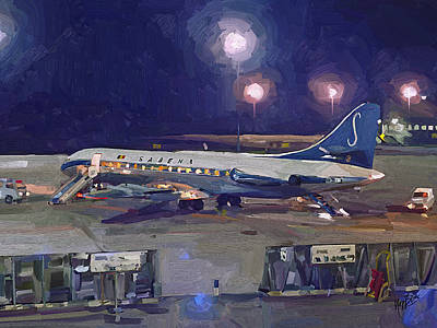 Briex Painting - Sabena Caravelle At Stockholm 1965 by Nop Briex