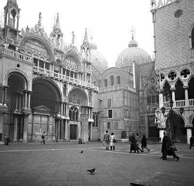 Art Print featuring the photograph San Marco Piazza And Basilica In Venice by Emanuel Tanjala