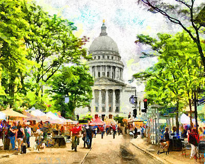 Farmers Market Digital Art - Saturday In Madison by Anthony Caruso
