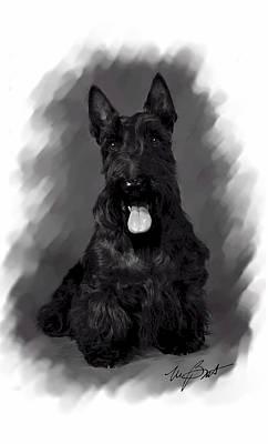Scottish Terrier Digital Art - Scottie Says Sit Stay by Maxine Bochnia