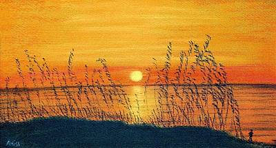 Pastel - Seaoats Sunset by Jan Amiss