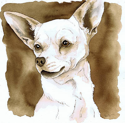 Sepia Ink Painting - Sepia Tone Chihuahua Dog by Cherilynn Wood