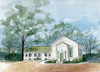 Sicklerville 1859 Church  Art Print by Nancy Patterson